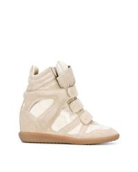 Zapatillas con cuña de ante en beige de Isabel Marant