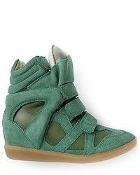 Zapatillas con Cuña de Ante Verde Oscuro de Isabel Marant