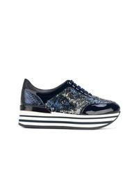 Zapatillas con cuña de cuero azul marino de Baldinini