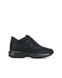 Zapatillas con cuña de cuero azul marino de Hogan