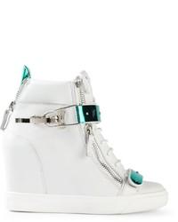 Zapatillas con cuña de cuero blancas de Giuseppe Zanotti