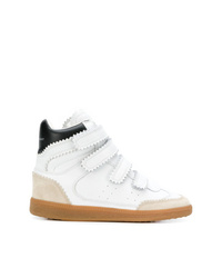 Zapatillas con cuña de cuero blancas de Isabel Marant