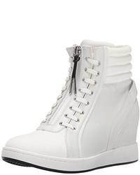 Zapatillas con cuña de cuero blancas de L.A.M.B.