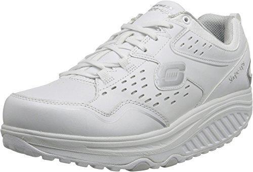 Zapatillas con cuña de cuero blancas de Skechers