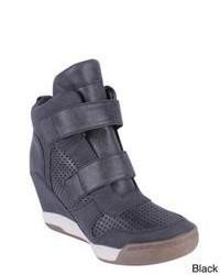 Zapatillas con cuña de cuero en gris oscuro