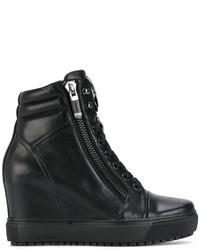 Zapatillas con Cuña de Cuero Negras de Baldinini