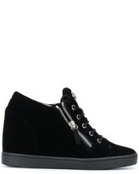 Zapatillas con Cuña de Cuero Negras de Giuseppe Zanotti Design