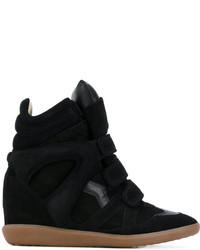 Zapatillas con Cuña de Cuero Negras de Isabel Marant