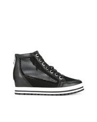 Zapatillas con Cuña de Cuero Negras de Marc Cain