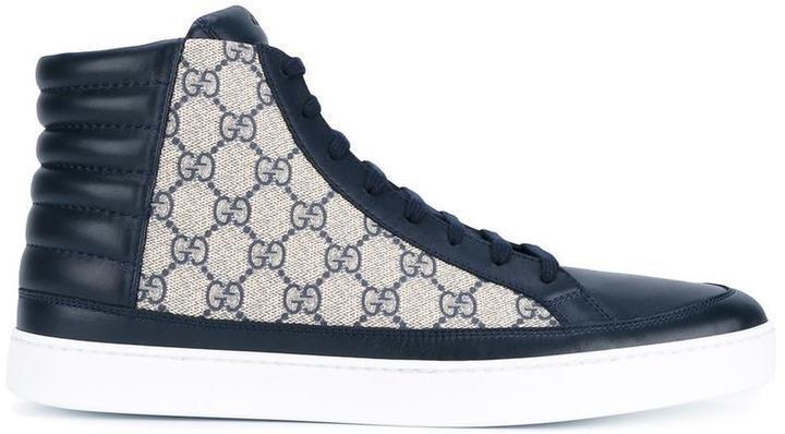 5b232b957 Zapatillas de cuero azul marino de Gucci, MEX$9,455 | farfetch.com ...