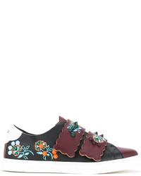 Zapatillas de Cuero con print de flores Negras de Fendi