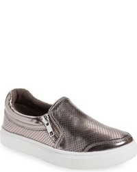 Zapatillas de cuero en gris oscuro