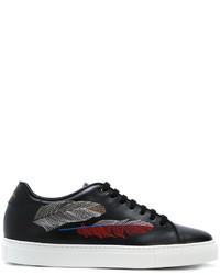 Zapatillas de cuero estampadas negras de Paul Smith