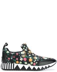 Zapatillas de cuero estampadas negras de Tory Burch