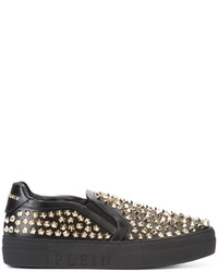 Zapatillas de cuero negras de Philipp Plein