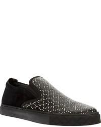 Zapatillas plimsoll de cuero negras de Gucci