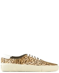 Zapatillas plimsoll de lona de leopardo marrón claro de Saint Laurent