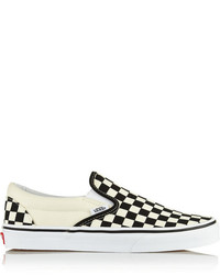 Zapatillas slip-on a cuadros en blanco y negro