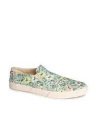 Zapatillas slip-on con print de flores grises