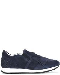 Zapatillas slip-on de ante con tachuelas azul marino de Tod's