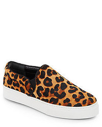 Zapatillas Slip-on de Ante de Leopardo Marrón Claro de Schutz