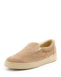 Zapatillas slip-on de ante marrón claro