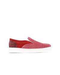 Zapatillas slip-on de ante rojas de Bottega Veneta