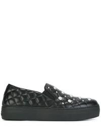 Zapatillas Slip-on de Cuero Acolchadas Negras de Versus
