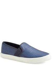 Zapatillas slip-on de cuero azules