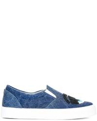 Zapatillas Slip-on de Cuero Azules de Chiara Ferragni
