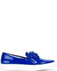 Zapatillas Slip-on de Cuero Azules de Versace