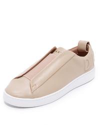 Zapatillas Slip-on de Cuero Beige