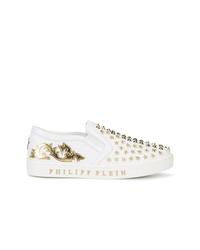 Zapatillas slip-on de cuero blancas de Philipp Plein