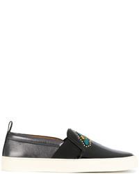 Zapatillas Slip-on de Cuero Bordadas Negras de Bally
