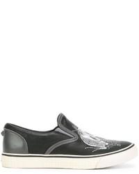 Zapatillas Slip-on de Cuero Bordadas Negras de Diesel