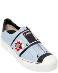 Zapatillas Slip-on de Cuero Celestes