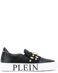 Zapatillas Slip-on de Cuero con Adornos Negras de Philipp Plein