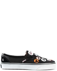 Zapatillas Slip-on de Cuero con Adornos Negras de RED Valentino