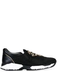 Zapatillas slip-on de cuero con adornos negras de Rene Caovilla