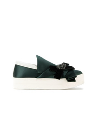Zapatillas slip-on de cuero con adornos verde oscuro de N°21