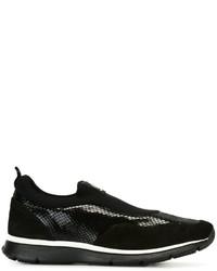 Zapatillas Slip-on de Cuero con print de serpiente Negras