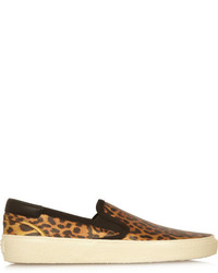 Zapatillas slip-on de cuero de leopardo marrónes