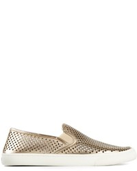Zapatillas slip-on de cuero doradas de Tory Burch