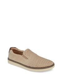 Zapatillas slip-on de cuero en beige