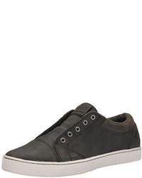 Zapatillas slip-on de cuero en gris oscuro de Mozo