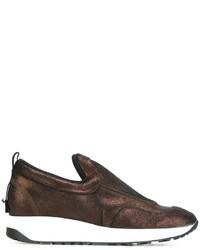 Zapatillas Slip-on de Cuero en Marrón Oscuro de Maison Margiela