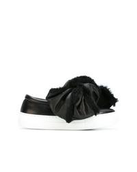 Zapatillas slip-on de cuero en negro y blanco de Joshua Sanders