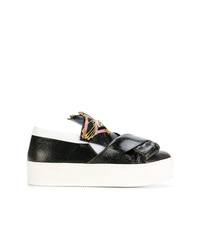 Zapatillas slip-on de cuero en negro y blanco de N°21