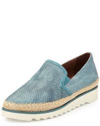 Zapatillas Slip-on de Cuero en Turquesa