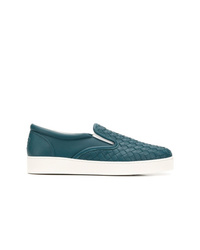 Zapatillas slip-on de cuero en verde azulado de Bottega Veneta